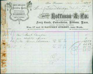 "Receipt for Goods Purchased by N. J. Trowbridge July 18, 1879. ""Payable in U. S. Gold Coin.""..."