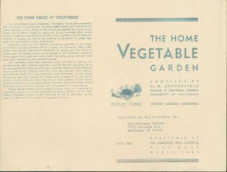 Home Vegetable Garden. Reprinted by The Ecology Center, Berkeley. H. M. Butterfield, compil