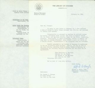 TLS Alfred D. Hagle to George J. Firmage, February 14, 1962. Regarding Braille editions of Dylan...