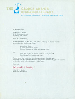 TLS Deborah A. Hardy to Tom Goldwasser, February 8, 1982. Deborah A. Hardy, Tom Goldwasser,...
