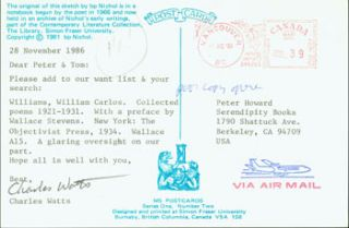 Post Card TLS Charles Watts to Peter Howard & Tom Goldwasser, November 28, 1986. Charles Watts,...