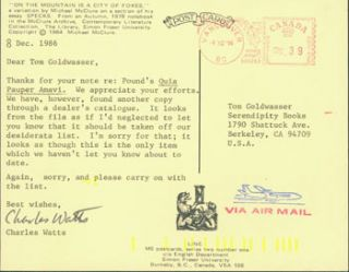 Post Card TLS Charles Watts to Peter Howard & Tom Goldwasser, December 8, 1986. Charles Watts,...