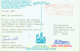 Post Card TLS Charles Watts to Peter Howard & Tom Goldwasser, January 19, 1987. Charles Watts,...