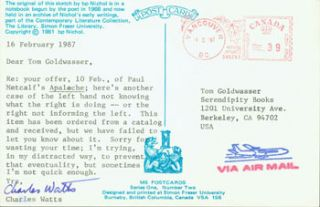 Post Card TLS Charles Watts to Peter Howard & Tom Goldwasser, February 16, 1987. Charles Watts,...