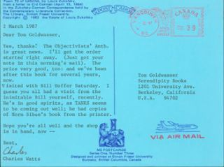 Post Card TLS Charles Watts to Peter Howard & Tom Goldwasser, March 2, 1987. Charles Watts, Peter...
