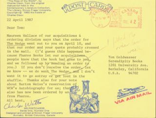 Post Card TLS Charles Watts to Peter Howard & Tom Goldwasser, April 22, 1987. Charles Watts,...