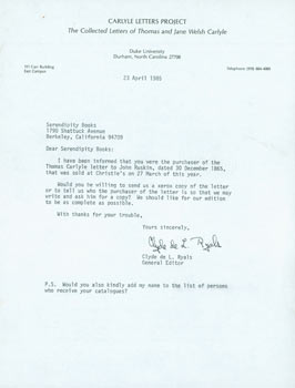 TLS Clyde de L. Ryals to Peter Howard & Tom Goldwasser, April 23, 1985. Clyde de L. Ryals, Peter...