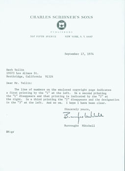 TLS from Burroughs Mitchell (of Charles Scribner's Sons) to Herb Yellin, Lord John Press. RE:...