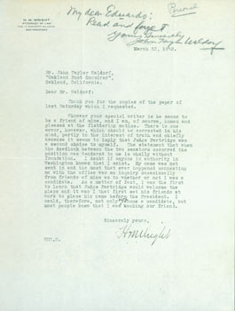 TLS H. M. Wright to John Taylor Waldorf, March 23, 1923. With MS note penciled in addressed to...
