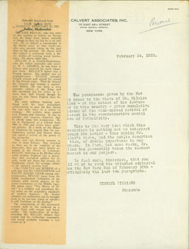 Typed Form Letter by Michael Williams on Calvert Associates letterhead to Edward O'Day, February...