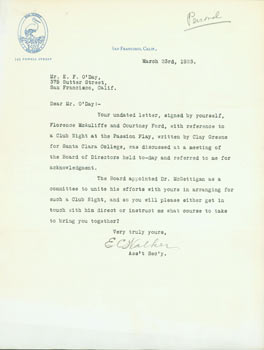 Typed Letter Signed by E. Walker on The Family letterhead to Edward O'Day, March 23, 1923. E....