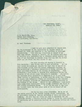 Carbon Copy Typed Letter by Edward O'Day to Florence M. McAuliffe, February 26, 1923. RE: Senate...