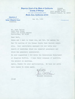 TLS Leonard Goldstein to Herb Yellin, May 22, 1980. RE: Houghton Mifflin, Orange County Book...