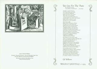 We Live For The Poets. Holiday Greetings - 1979. Broadside. Bellevue Press, Gil Williams, Stuart...