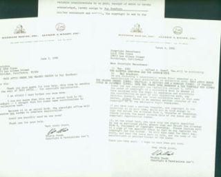 TLS Vickie Woods of Knopf to Lord John Press, March 4 & June 3, 1981. RE: copyrights for Ray...