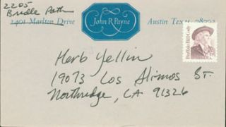 Signed MS note from Steinbeck bibliographer John R. Payne to Herb Yellin. John R. Payne
