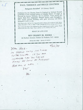MS Note on Flyer, Bev Chaney to Herb Yellin, April 26, 1985. RE: Book Collecting. Bev Chaney Jr....