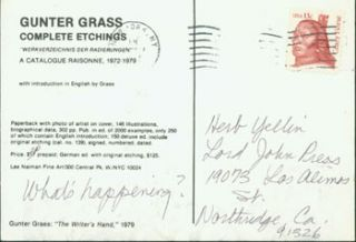 Gunter Grass, Complete Etchings. A Catalogue Raisonne. Promotional Postcard. Gunter Grass, Lee...