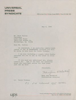 Typed letter, signed, Mary Ann Woodward (Universal Press Syndicate) to Herb Yellin, May 9, 1985....