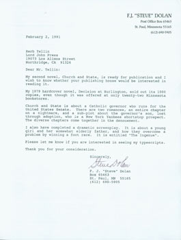 "Printed letter, signed, F. J. ""Steve"" Dolan to Herb Yellin. February 2, 1991. RE: Book Pitch. F...."
