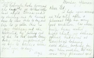 MS Letter by Mazie Cook O'Day to Edward O'Day, [ca. 1944?]. RE: letter from Edward O'Day's wife;...