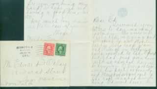 MS Letter by Mazie Cook O'Day to Edward O'Day, July 23, 1918. RE: letter from Edward O'Day's...