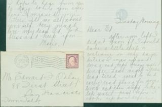 MS Letter by Mazie Cook O'Day to Edward O'Day, July 30, 1918. RE: letter from Edward O'Day's...