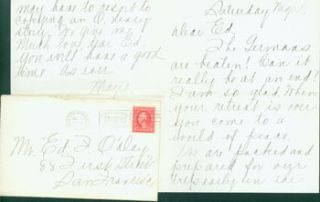 MS Letter by Mazie Cook O'Day to Edward O'Day, July 2, 1916. RE: letter from Edward O'Day's...