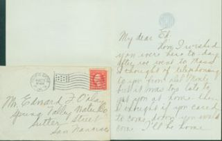 MS Letter by Mazie Cook O'Day to Edward O'Day, August 25, 1919. RE: letter from Edward O'Day's...