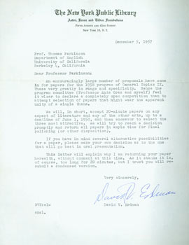 TLS Erdman to Thomas Parkinson, December 5, 1957. RE: submitting papers for publication. David V....