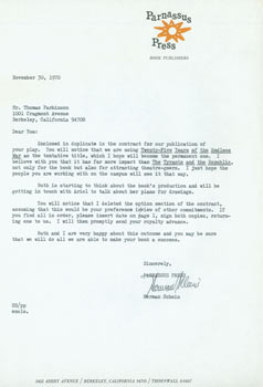 TLS Herman Schein to Thomas Parkinson, November 30, 1970. RE: Parkinson's play. Herman Schein,...