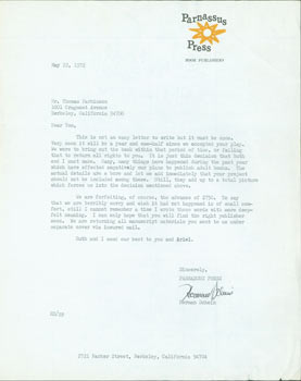 TLS Herman Schein to Thomas Parkinson, May 22, 1972. RE: Schein declining to publish Parkinson's...