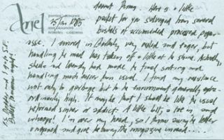 ALS Ariel Reynolds Parkinson to her husband Thomas Parkinson, January 30, 1985. RE: SF Ballet,...