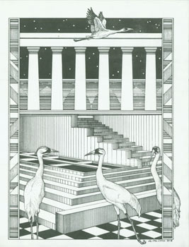 Herons on Checkerboard Flooring. Ste. Croix, artist