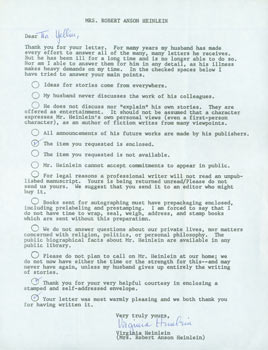 Signed Form Letter Mrs. Robert Anson Heinlein to Herb Yellin. Mrs. Robert Anson Heinlein