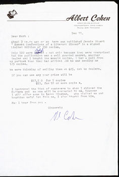 TLS Albert Cohen to Herb Yellin, Dec. 11th, [1980]. Jesse Stuart (Poet Laureate of Kentucky, 1907...