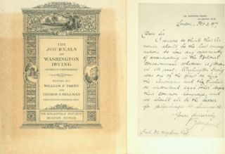 Prospectus for The Journals Of Washington Irving (Hitherto Unpublished). First Edition. (This is...