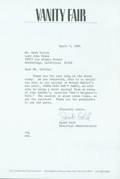 TLS Sarah Gold (Vanity Fair editor) to Herb Yellin, April 2, 1984. RE: Norman Mailer & John...