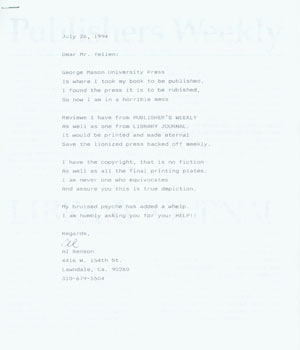 TLS Al Benson to Herb Yellin, July 26, 1994, Ross pitching his work to Yellin. Photocopy of...