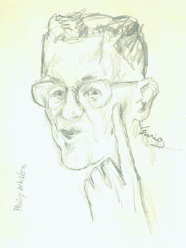 Philip Whalen. Pencil Sketch. Signed by Artist & Subject. Eurig?, San Francisco North Beach...