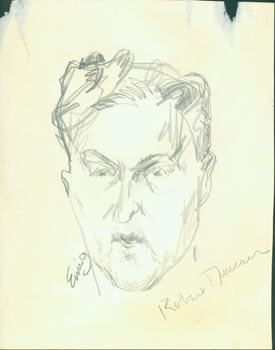 Robert Duncan. Pencil Sketch. Signed by Artist & Subject. Eurig?, San Francisco North Beach...