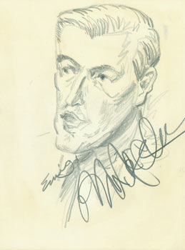 Michael McClure]. Pencil Sketch. Signed by Artist & Subject. Eurig?, San Francisco North Beach...