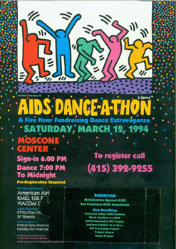 AIDS Dance-A-Thon. Saturday, March 12, 1994. Moscone Center. Benefitting Mobilization Against...