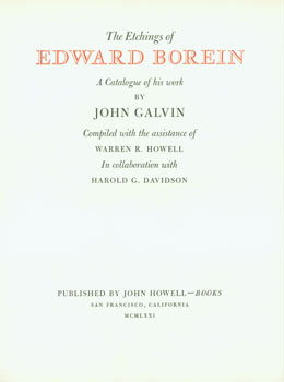Prospectus for The Etchings of Edward Borein: A Catalogue of his work by John Galvin. (This is...