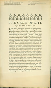 The Game Of Life by Thomas H. Huxley. Specimen No. 85, Laboratory Press. Students' Project...