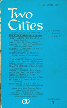 Two cities. No. 1, 15 avril 1959, Hommage à Lawrence Durrell. Signed by Alfred Perles. Inaugural...