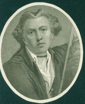 "Engraving: James Barry (1741 - 1806), Irish Painter. Engraving after Barry's ""Self-portrait as..."