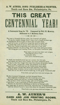 This Great Centennial Year! A Centennial Song for '76. Composed by Phil. H. Mowrey. Dedicated to...