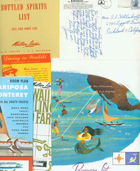 Matson Lines Ephemera, 1964. Brochures, Post Cards, Booklet, and Wine Lists from a May 1964...