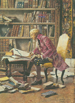 The Book Collector. Seasons Greetings, Antoinette and Warren Howell. Original Watercolor painting...